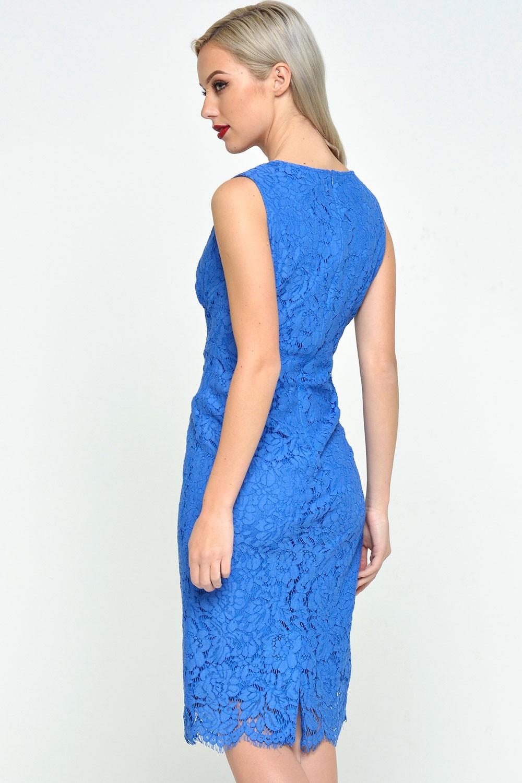 Lauren V Neck Lace Dress in Cornflower Blue