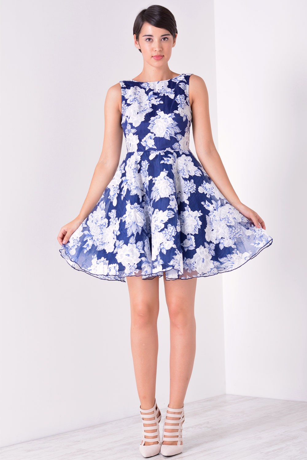 Marc Angelo Estelle Floral Prom Dress in Navy   iCLOTHING