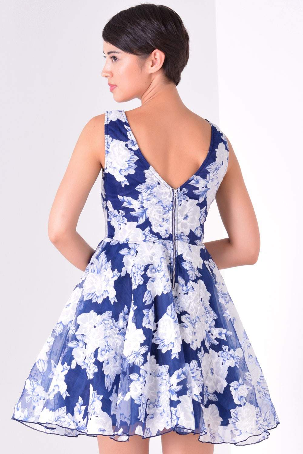 Marc Angelo Estelle Floral Prom Dress in Navy | iCLOTHING