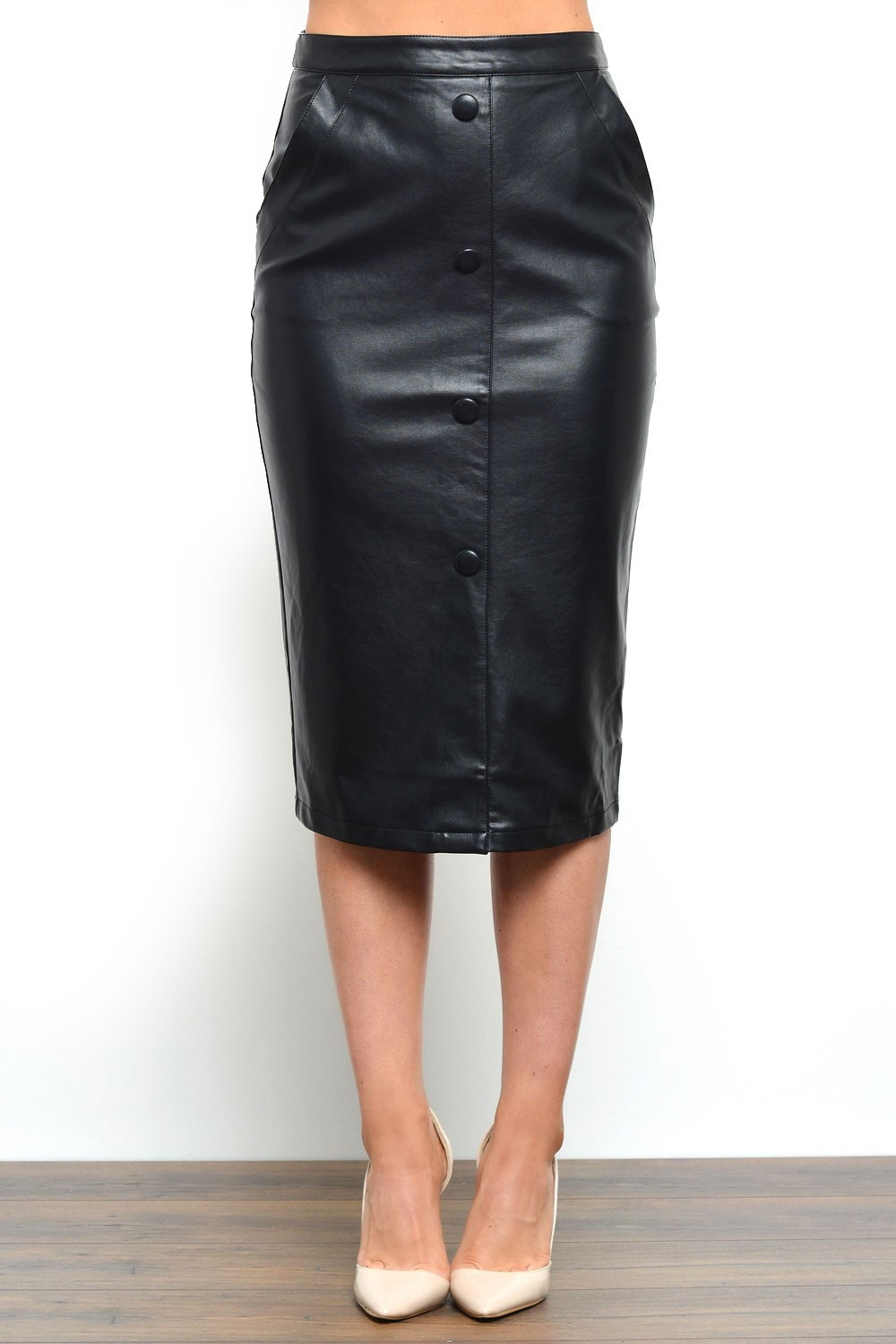 marc angelo button front pu pencil skirt iclothing