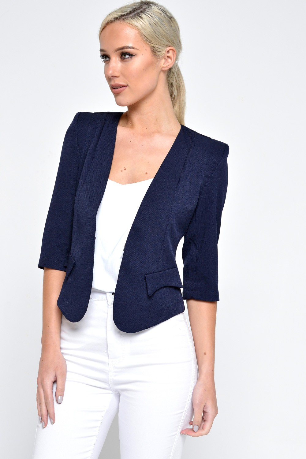Marc Angelo Kim Tailored Cropped Blazer in Navy