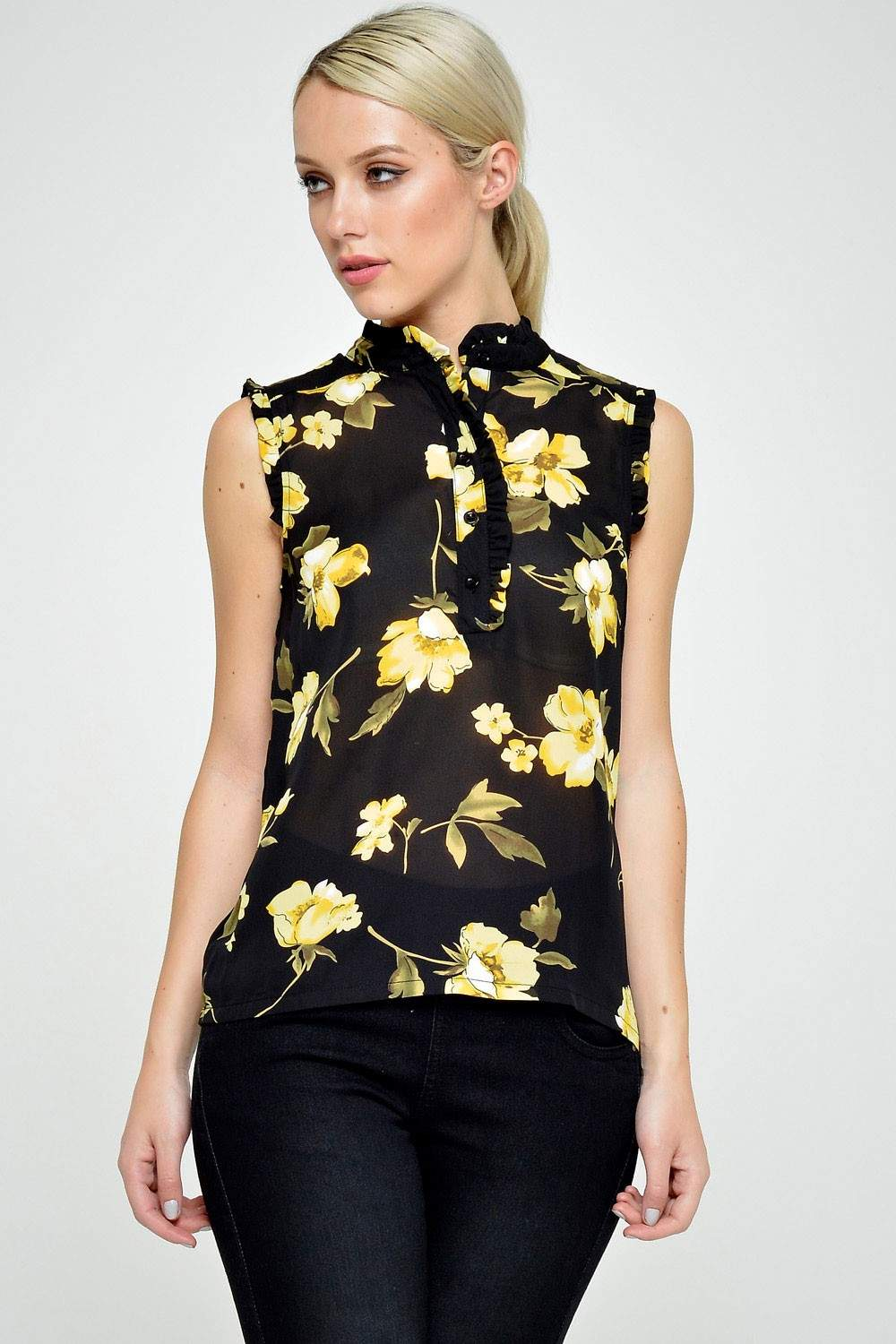 Marc angelo carolyn print s l shirt in black floral for Black floral print shirt