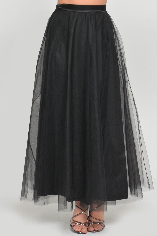 marc angelo tulle midi skirt in black iclothing