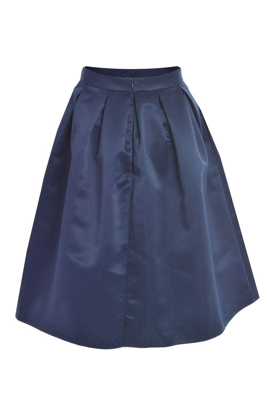 marc angelo angela plain pleated skirt in navy iclothing