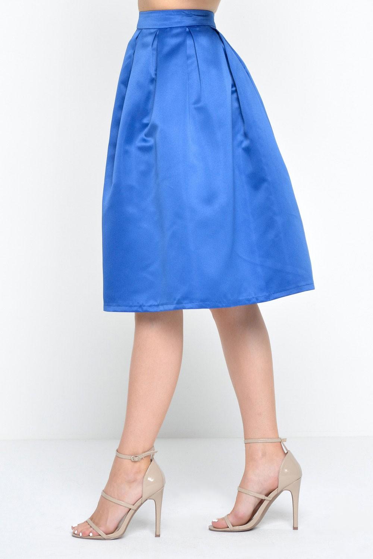 marc angelo angela plain pleated skirt in royal blue