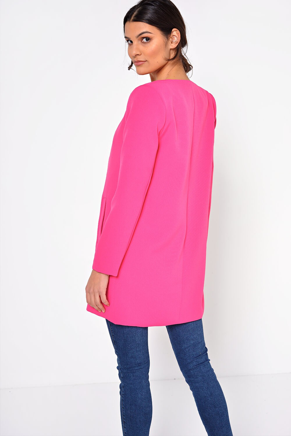Marc Angelo Aria Longline Blazer in Cerise | iCLOTHING