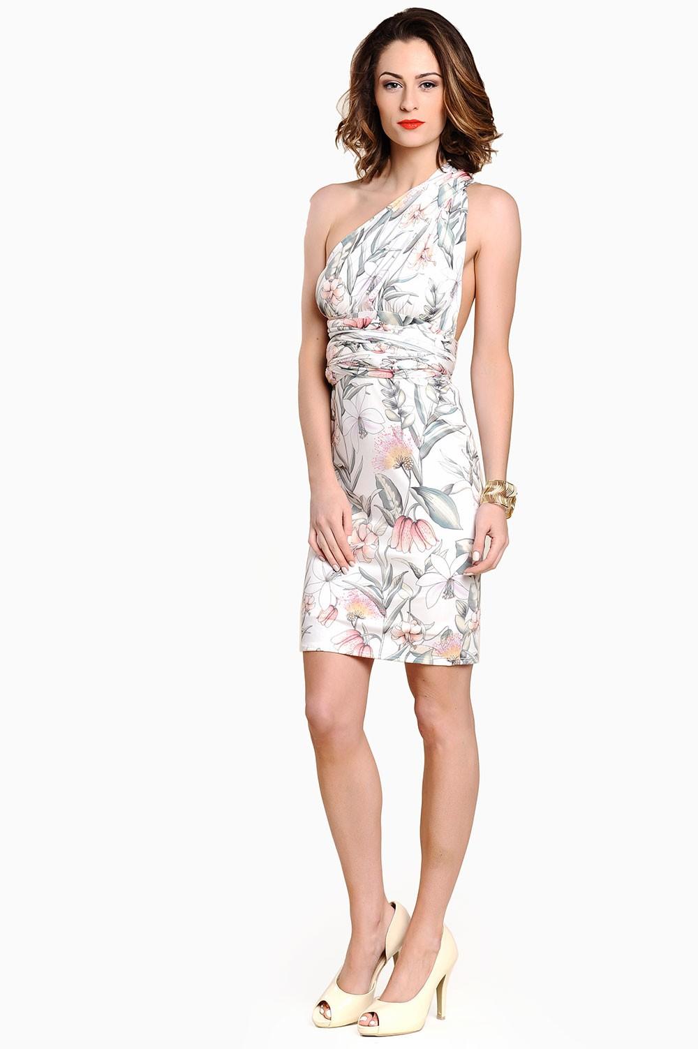 Devon Floral Multi Way Midi Dress In Cream