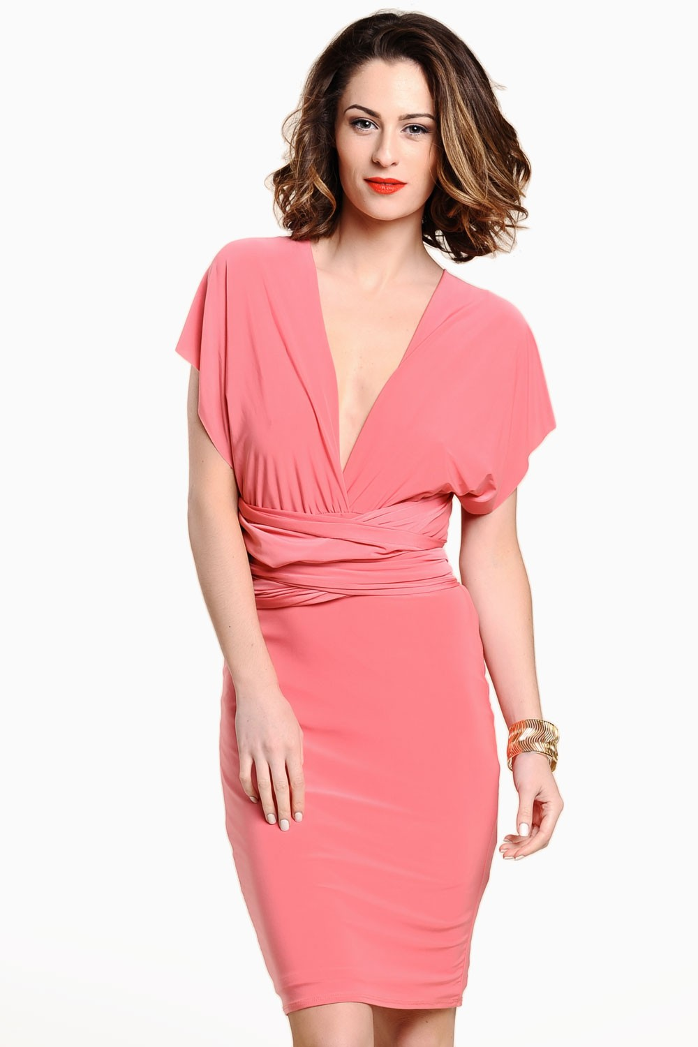 68418a89047 Lucy Multi Way Midi Dress in Coral