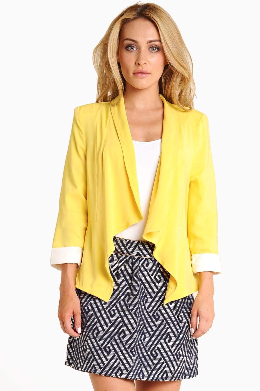 AX Paris Leyla Waterfall Jacket in Lemon | iCLOTHING