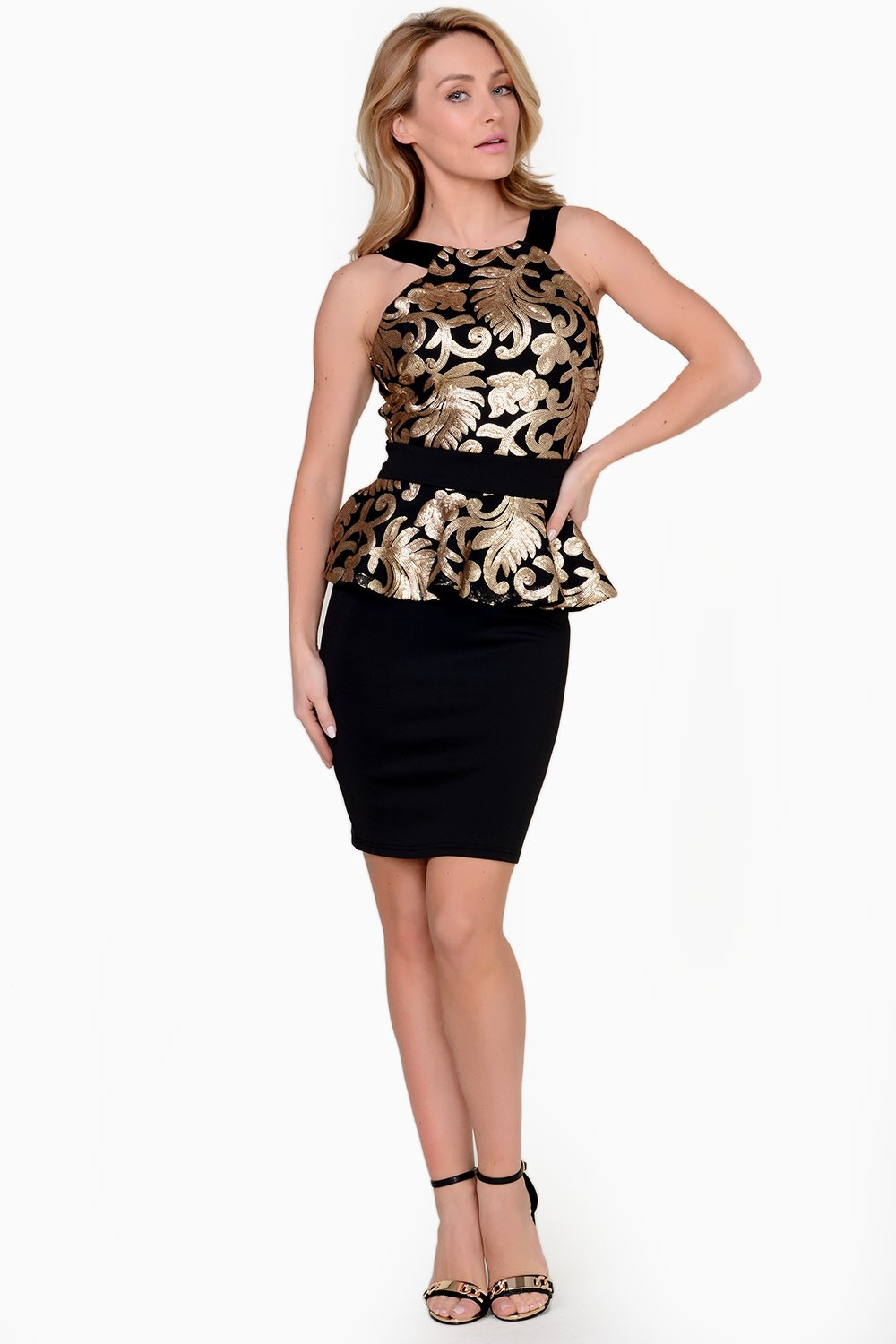 Jane Damask Sequin Peplum Dress In Black And Gold Iclothing