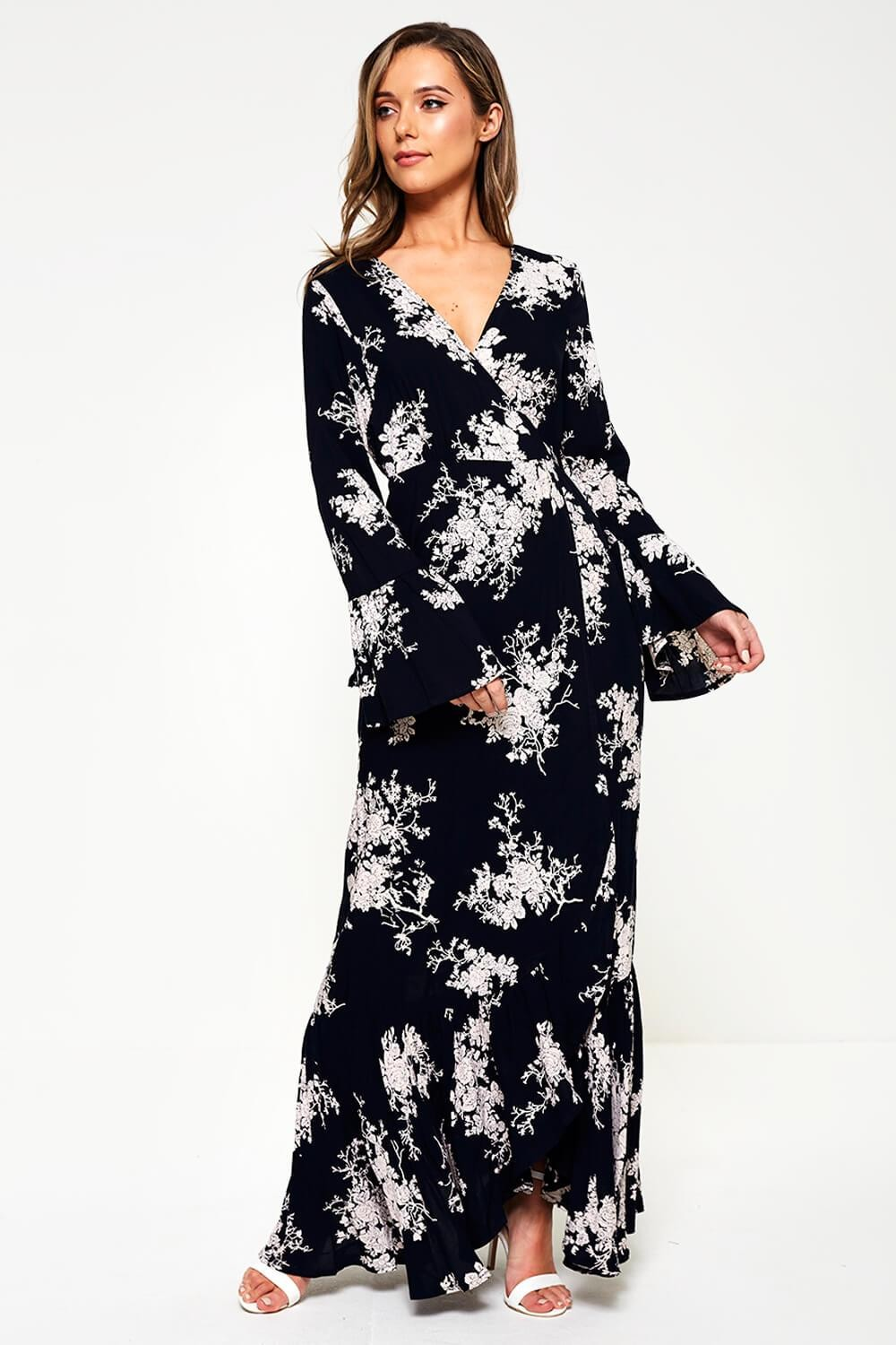 4dc4f38cf ... Maxi Floral Print Wrap Dress in Navy. Video