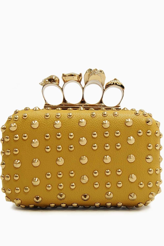 Tiffany Beige Skull Knuckle Ring Clutch Bag