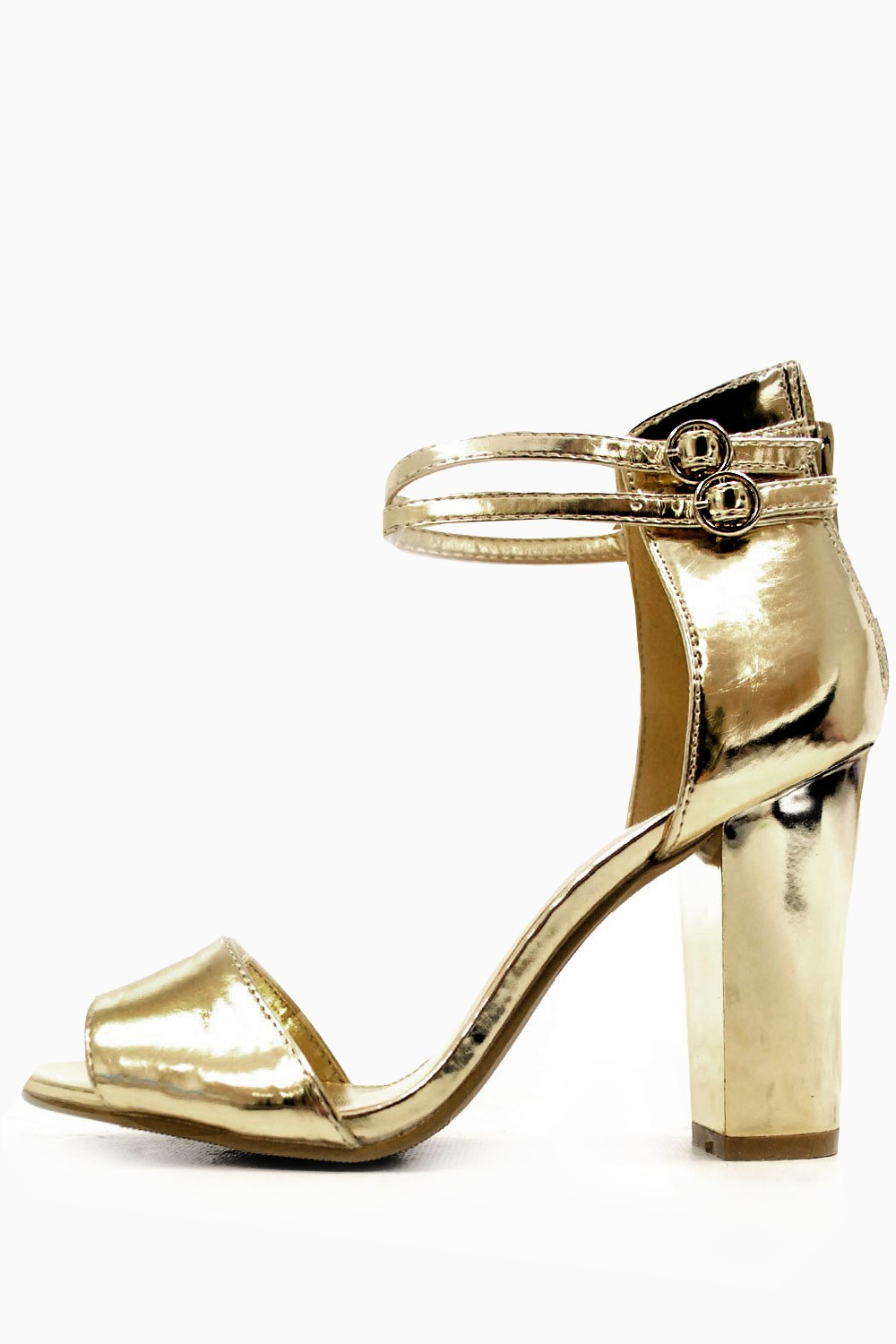 Paris Chunky Heels Sandals in Gold