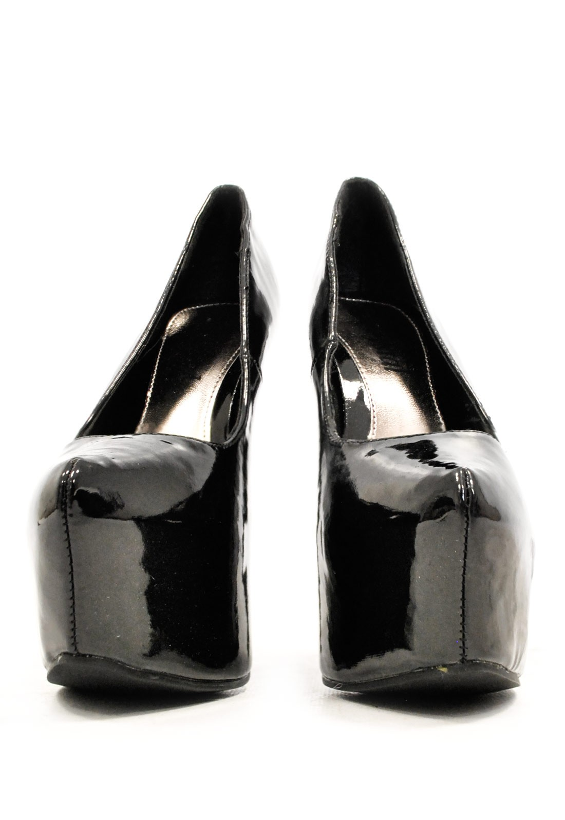 247 patent platform court shoe in black iclothing