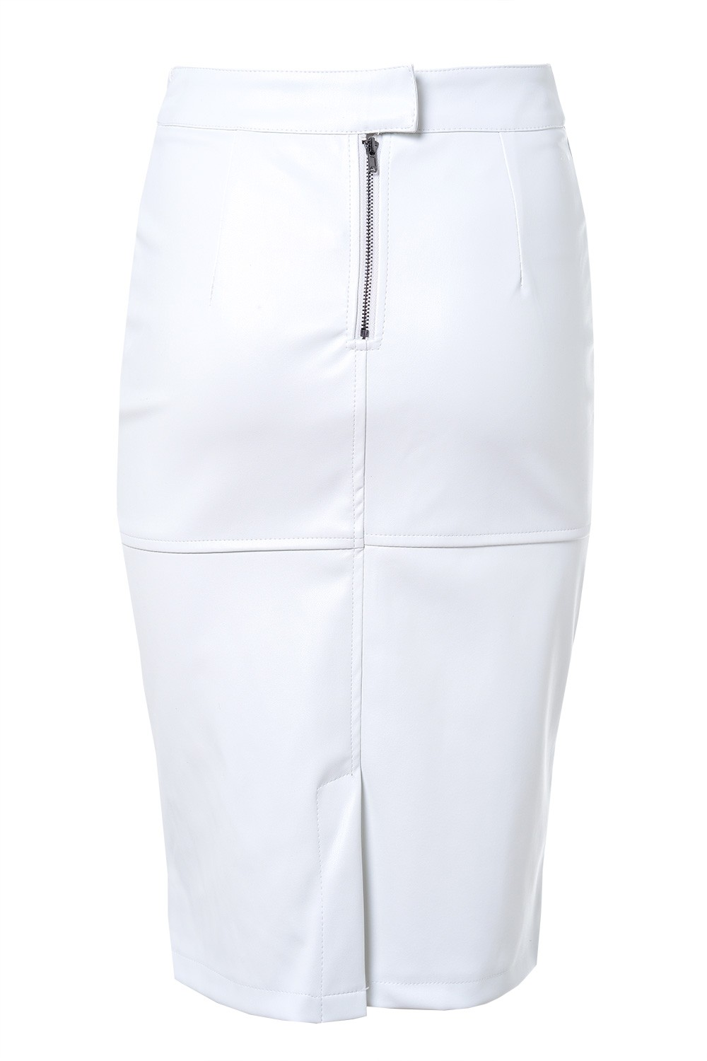 pixie leather look pencil skirt in white