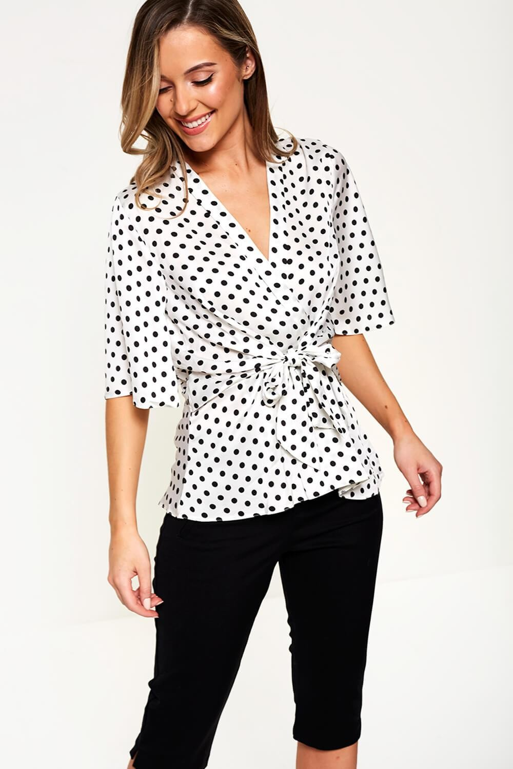 1cd60f70cf9 More Views. Polka Dot Front Tie Top in White