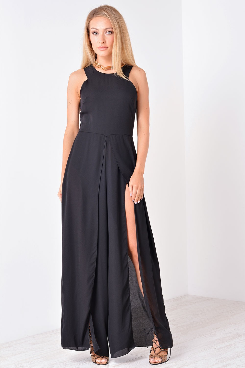 AX Paris Karina Split Wide Leg Jumpsuit in Black