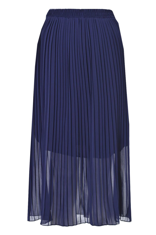 stella pleat midi skirt in navy iclothing