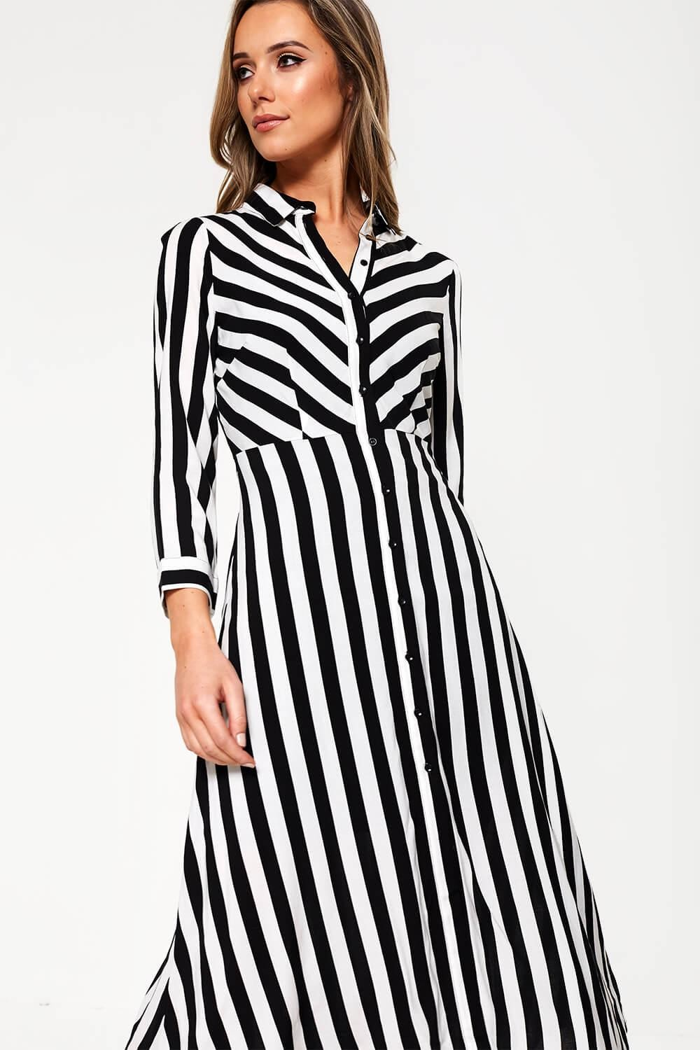 lowest discount get online discount coupon Savanna Striped Midi Shirt Dress in Black