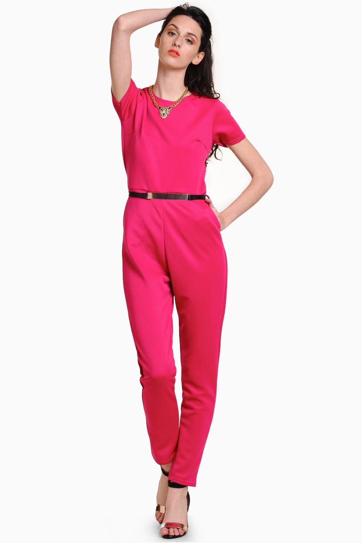 c1b269e0e01 Lana Plain Gold Belt Jumpsuit in Pink