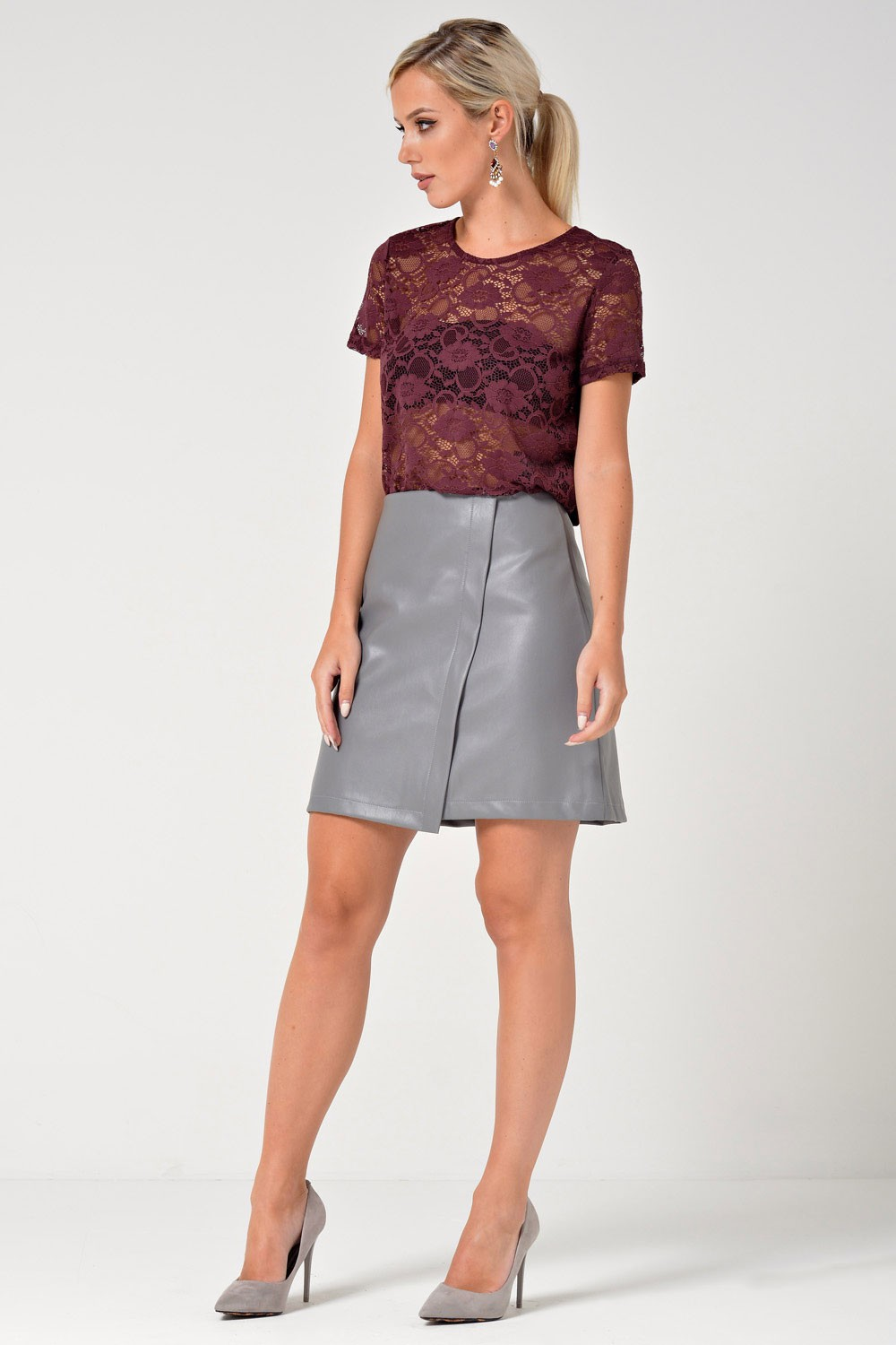 saint maine andrea faux leather skirt in grey | iclothing