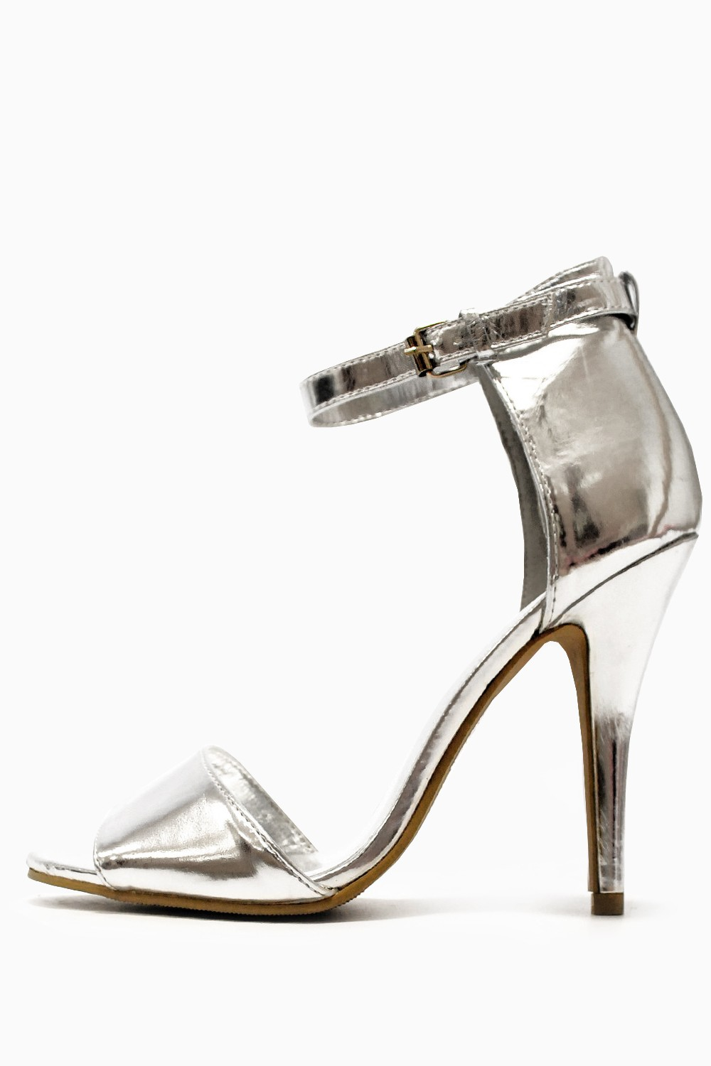 Sonya Strappy Mid Heel Sandals in Silver