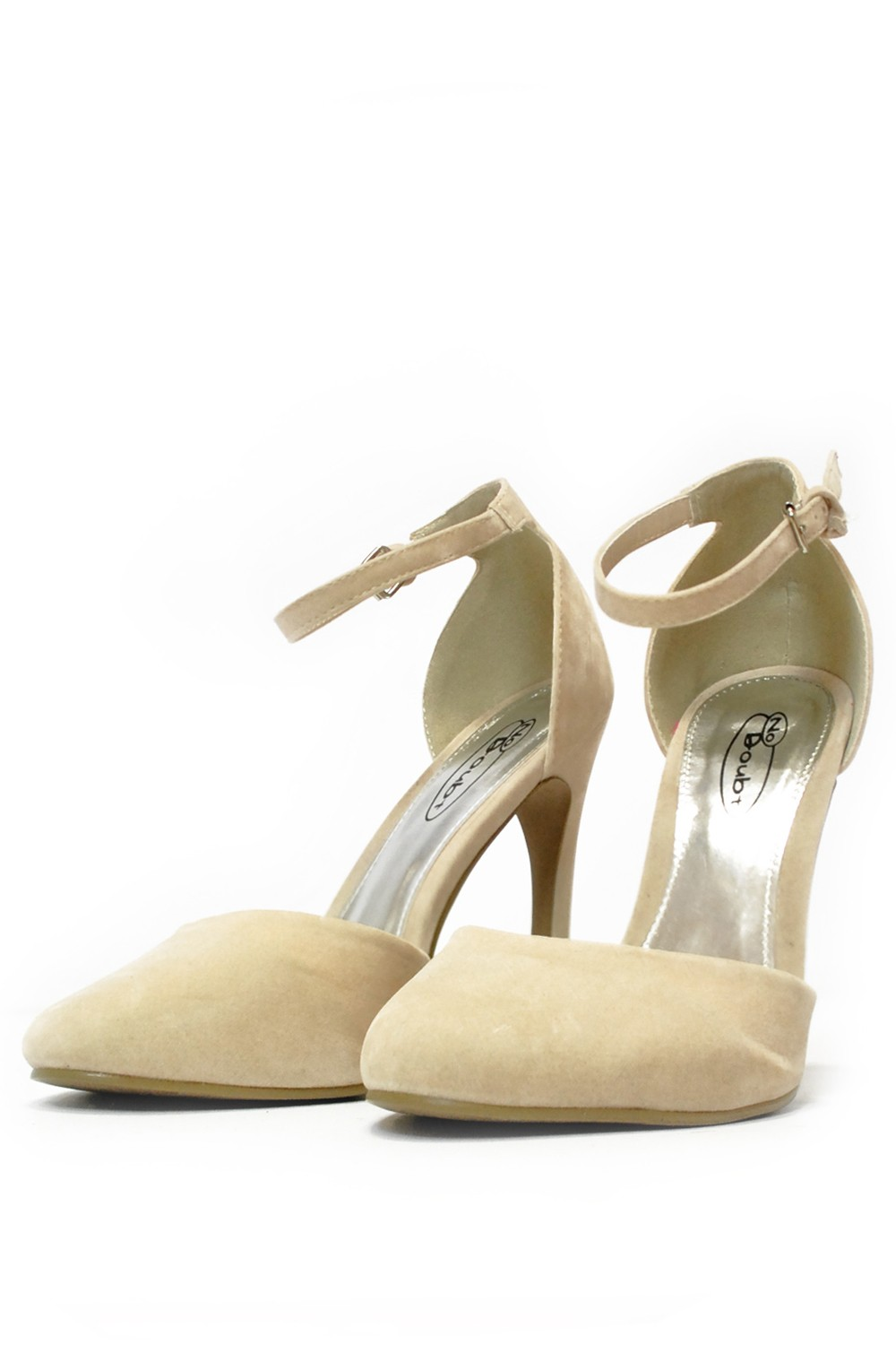 247 Nadia Ankle Strap Mid Heel Shoes in Cream | iCLOTHING