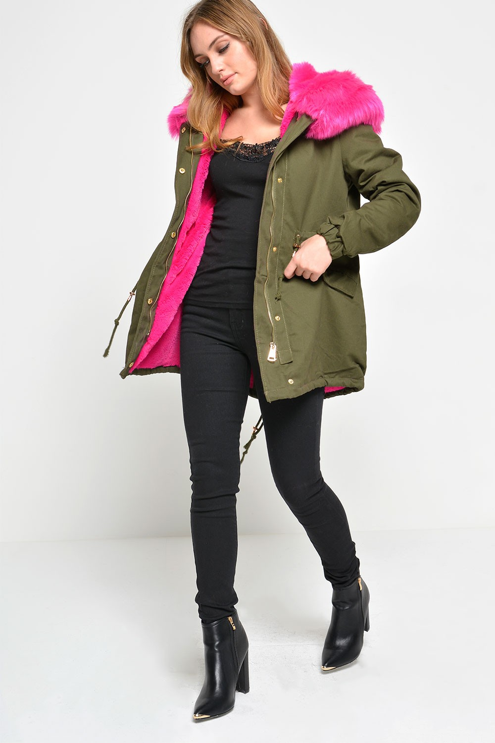 Nelly Faux Fur Parka in Khaki | iCLOTHING
