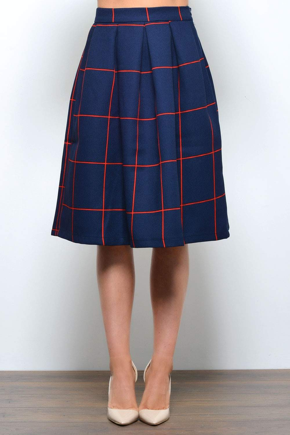 check pleated skirt iclothing