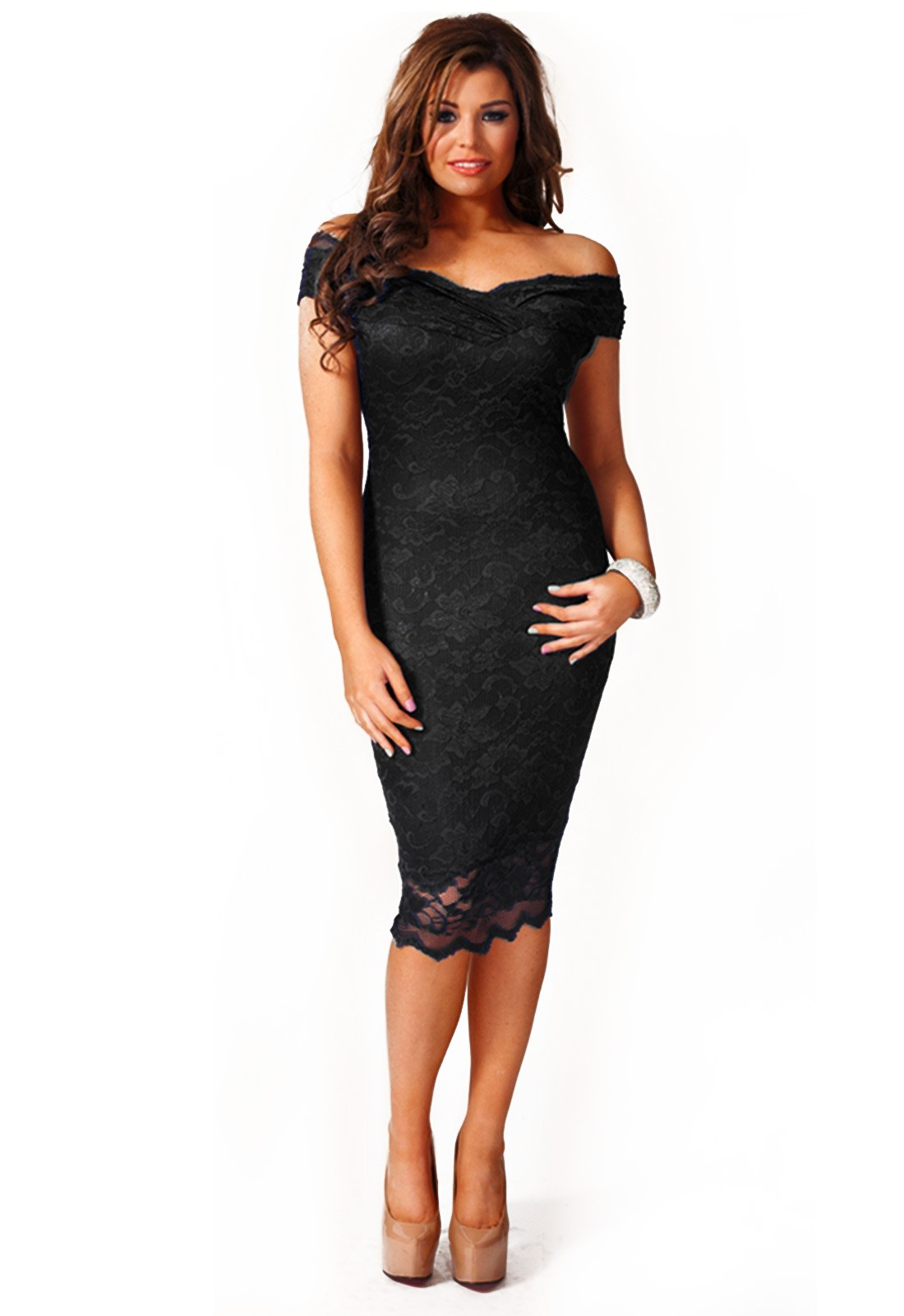 Olivia Off Shoulder Lace Midi Dress In Black Iclothing