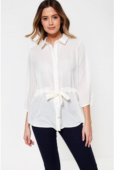 Iben Front Tie Shirt in Off White