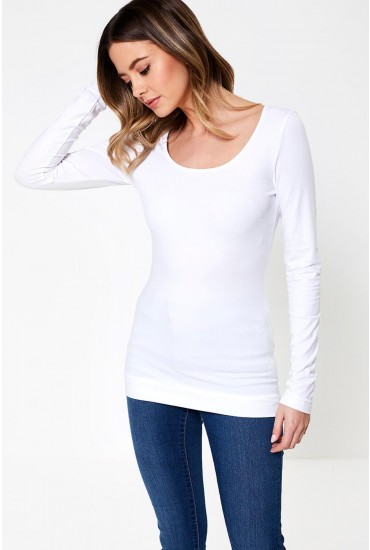 Maxi Long Sleeve T-Shirt in White