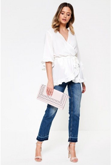 Kotaro Wrap Top with Frill Detail in Off White