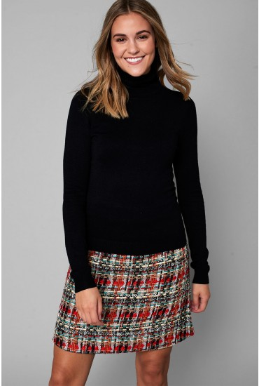 Glory Roll Neck Top in Black