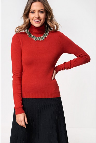Glory Roll Neck Top in Burnt Orange