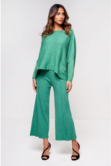 Sabina Lounge Wide Leg Trousers in Green