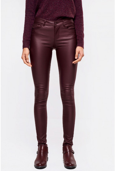 Seven Regular Smooth Coated Pants in Wine