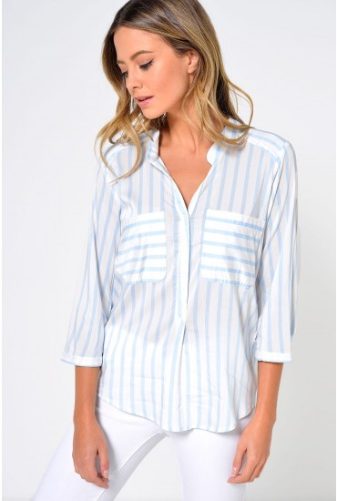 Erika Stripe 3/4 Shirt in Blue