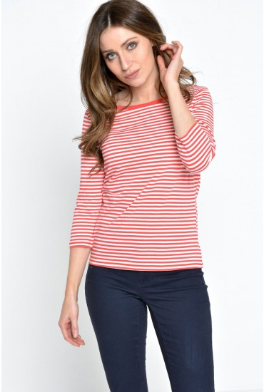 Marley Stripe 3/4 Top in Red