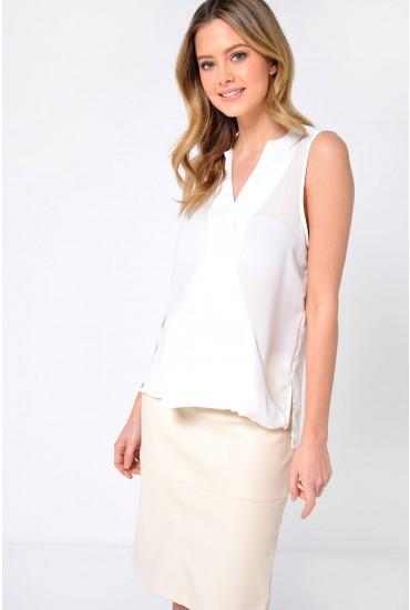 Rina SL Wrap Top in White