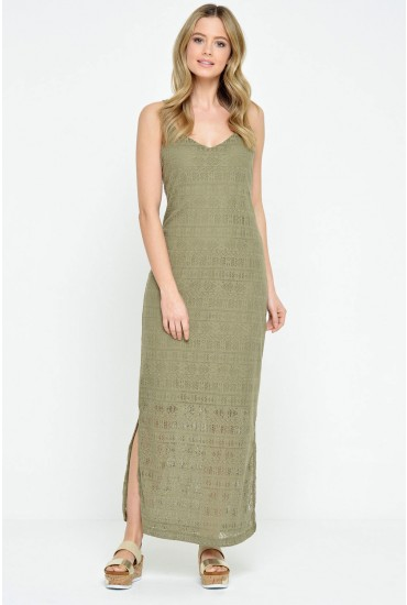 Manna S/L Ankle Dress in Khaki