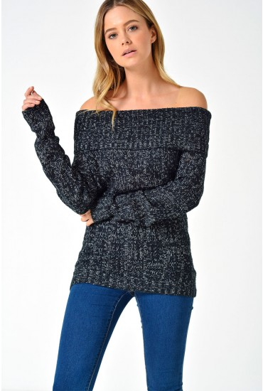 Amanda Jive Off Shoulder Knit in Black