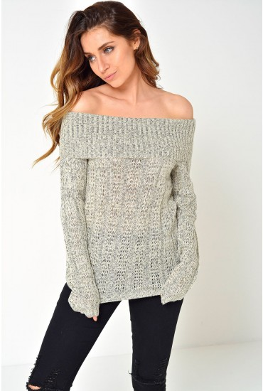 Amanda Jive Off Shoulder Knit in Beige