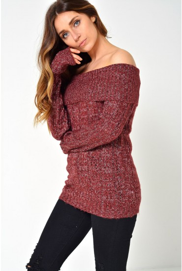 Amanda Jive Off Shoulder Knit in Burgundy