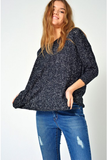 Amanda Jive Oversized Boatneck in Black