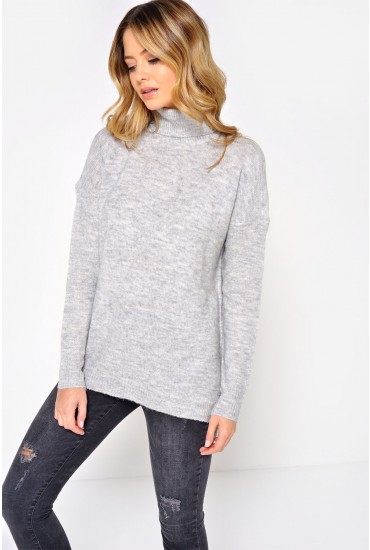 Miles L/S Turtle Neck Knit in Light Grey