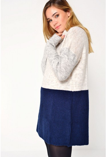 Fortuna L/S Long Rollneck Knit in Navy