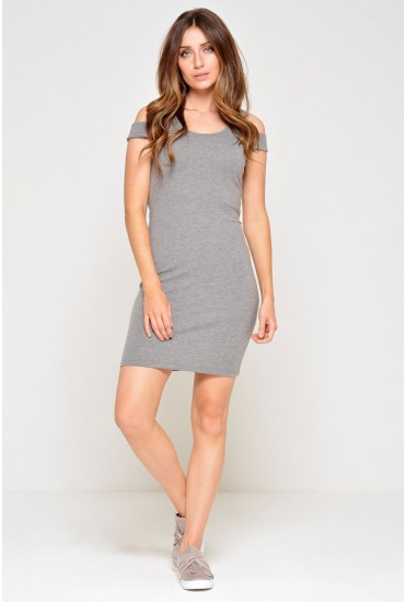 Laila Cold Shoulder Short Dress in Grey