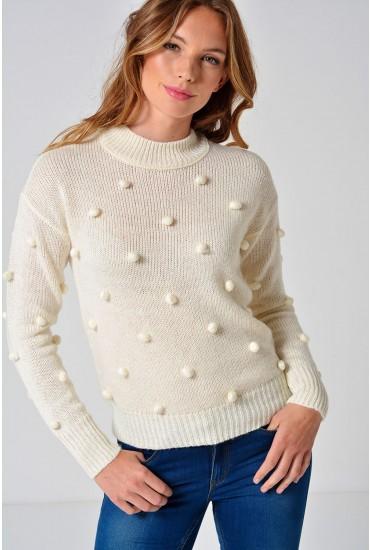 Pom L/S Highneck Knit in Cream