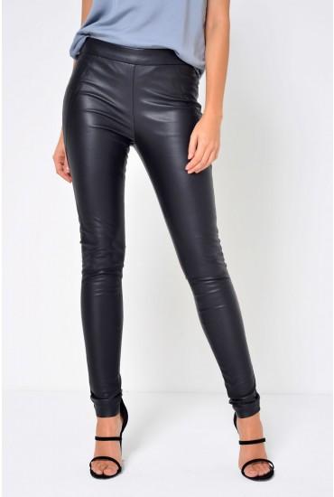 Sevena Stretch PU Pants in Black